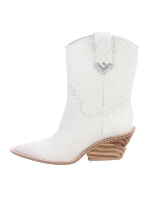 Fendi Leather Western Boots White