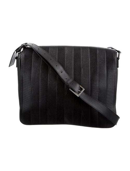 Fendi Logo-Embossed Leather Messenger Bag Black