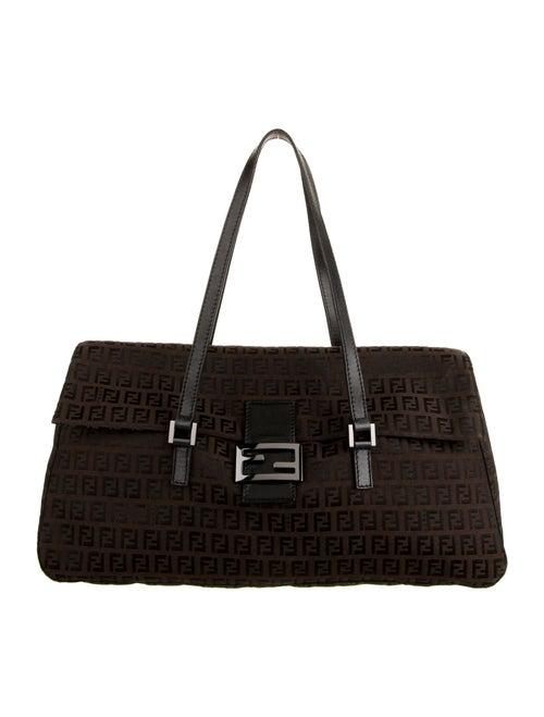 Fendi Canvas Logo Shoulder Bag Brown