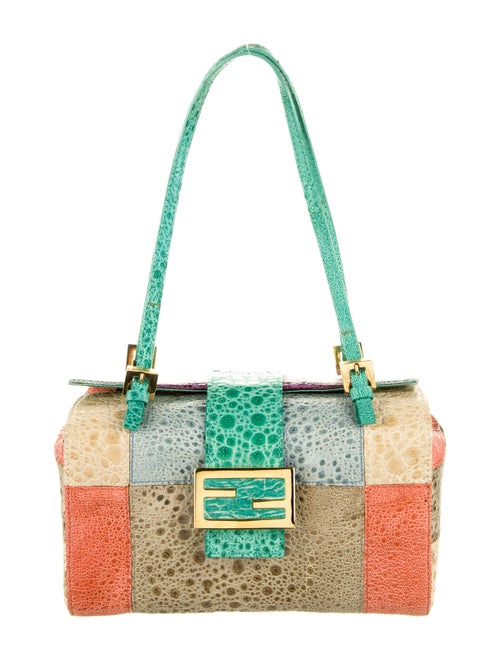 Fendi Patchwork Toad Skin Bag Green