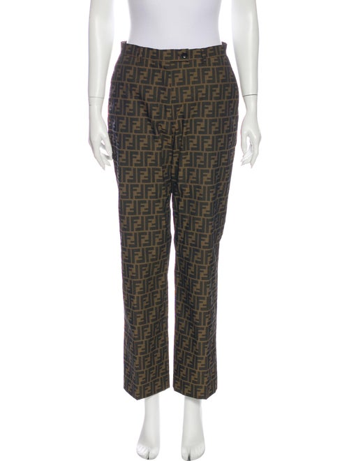 Fendi Plaid Print Straight Leg Pants Brown