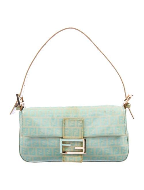 Fendi Zucchino Leather-Trimmed Baguette Bag Blue