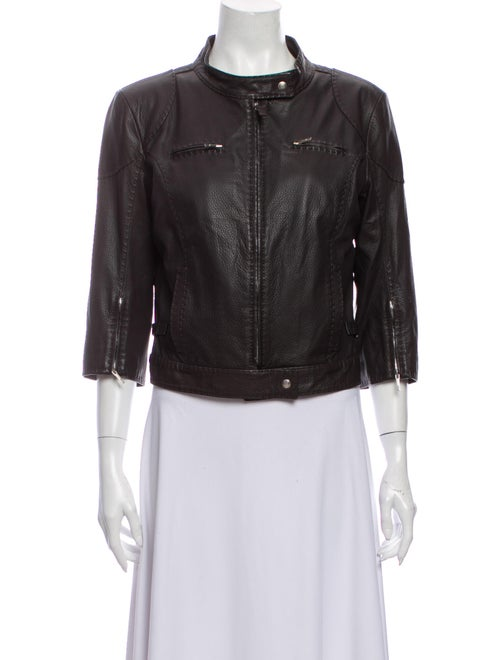 Fendi Leather Biker Jacket Brown