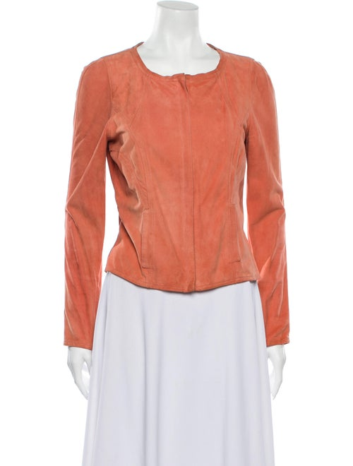 Fendi Leather Biker Jacket Orange