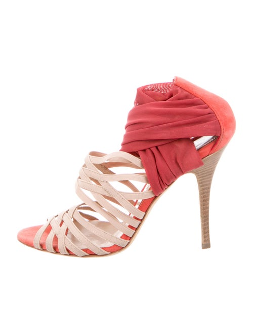 Fendi Colorblock Pattern Sandals Pink