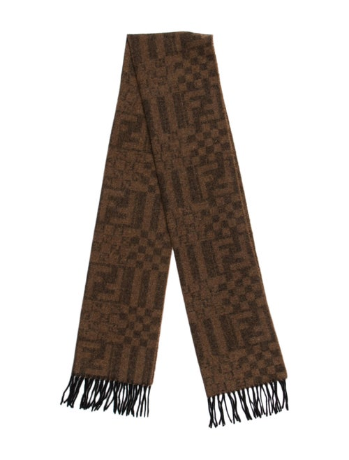 Fendi Zucca Wool Scarf Brown