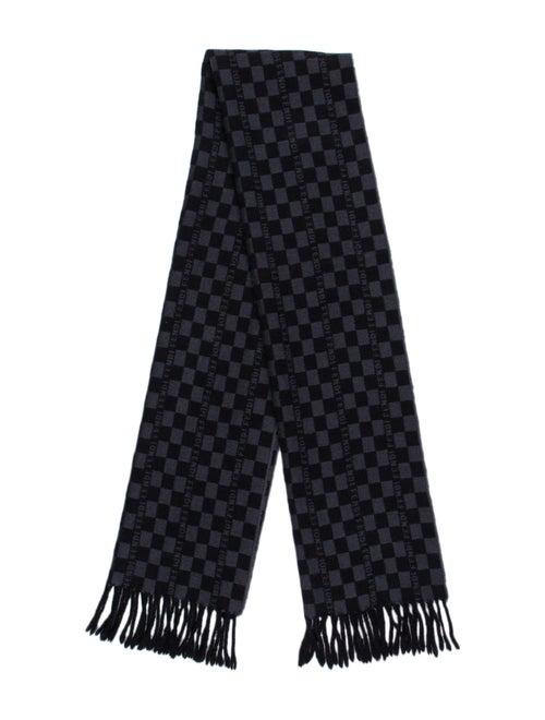 Fendi Checkered Wool Scarf Blue