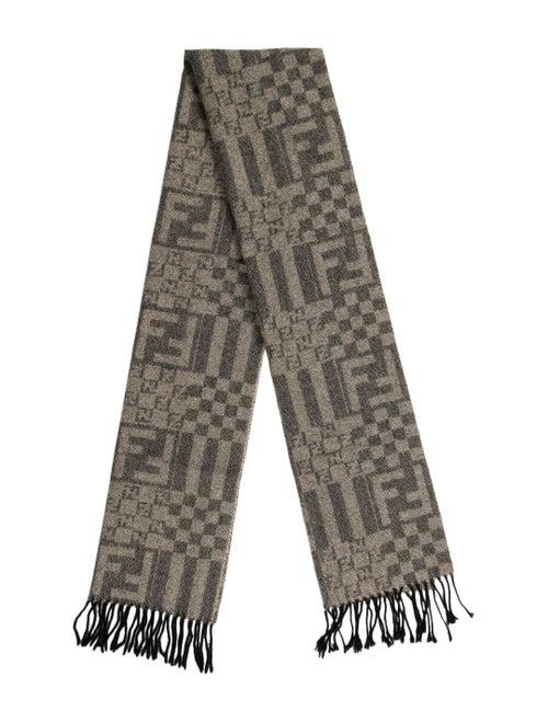 Fendi Zucca Wool Scarf black