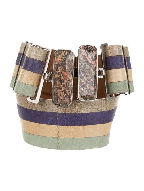 Fendi Striped Leather Belt navy