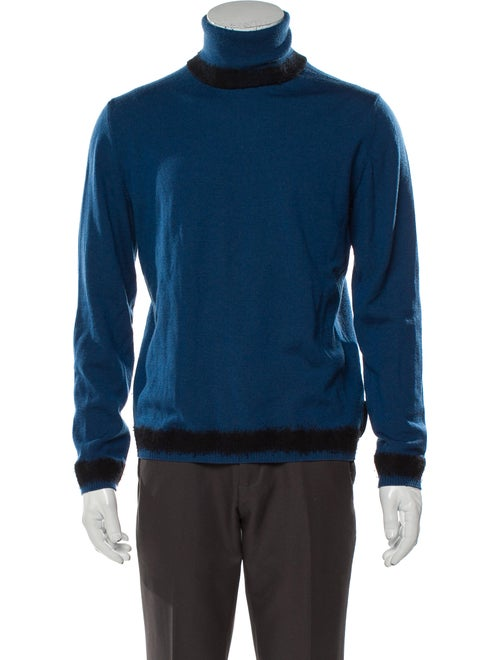 Fendi Turtleneck Long Sleeve Pullover Blue