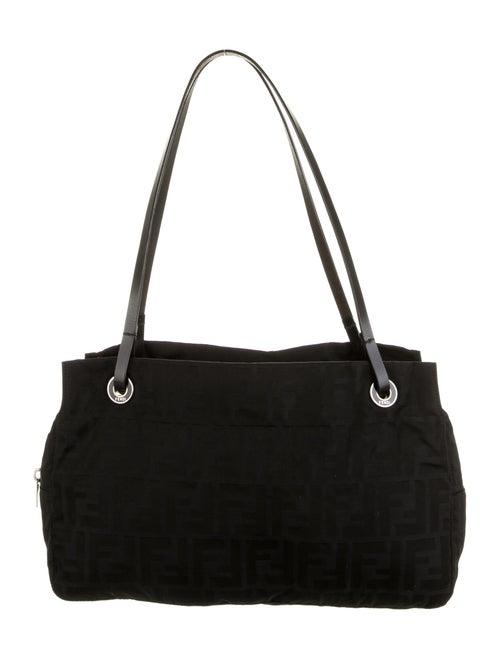 Fendi Zucca Leather-Trimmed Bag Black