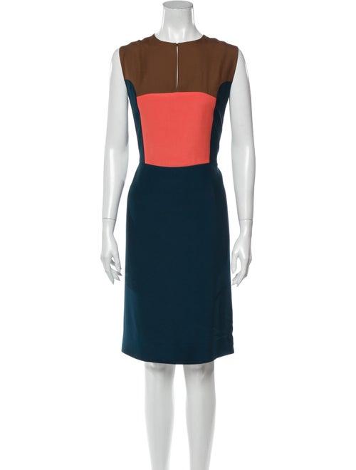 Fendi Colorblock Pattern Knee-Length Dress Blue