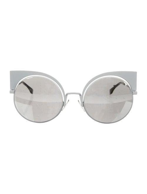 Fendi Cat-Eye Mirrored Sunglasses White