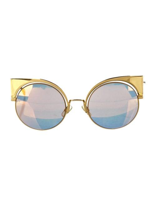 Fendi Metal Cat-Eye Sunglasses Gold