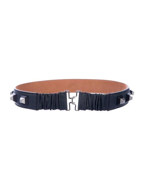 Fendi Studded Leather Belt Navy