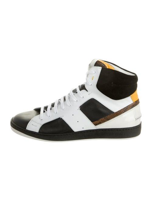 Fendi Leather Colorblock Pattern Sneakers Black