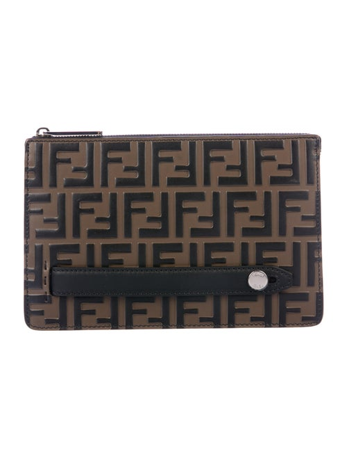 Fendi Zucca Embossed Leather Pouch Brown