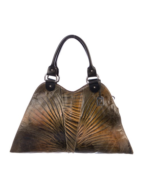 Fendi Devil Trapezio Leather Bag Brown