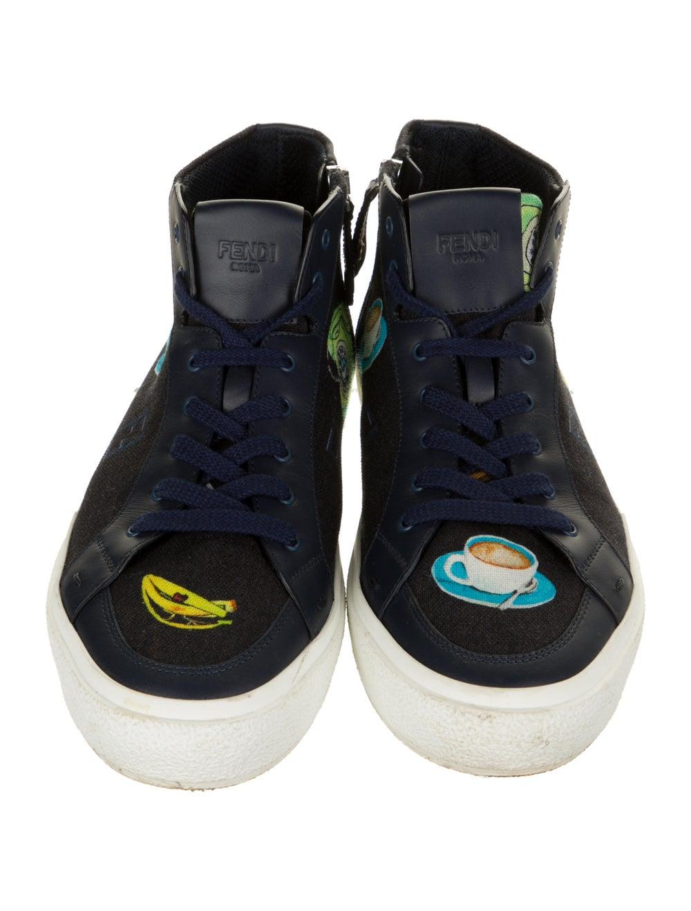 Fendi Graphic Print Sneakers Blue - image 3