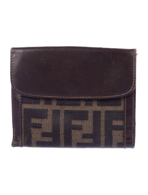 Fendi Zucca Canvas Compact Wallet tan