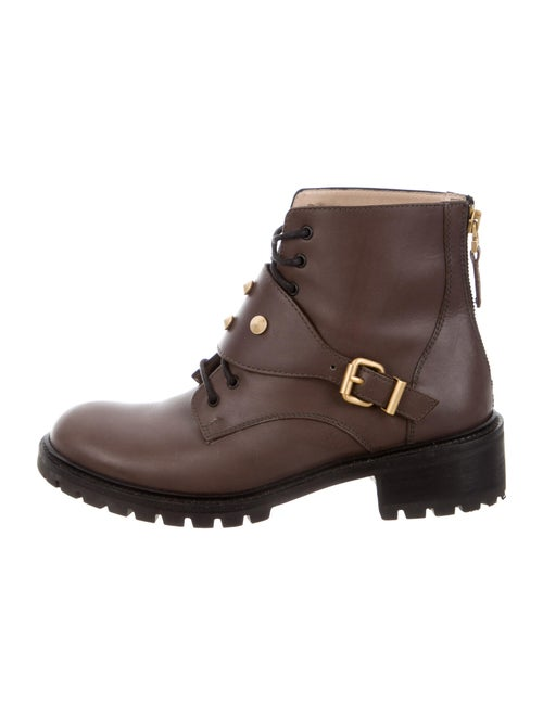 Fendi Leather Combat Boots Brown