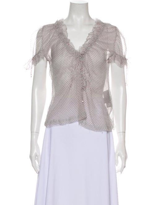 Fendi Silk Printed Blouse White