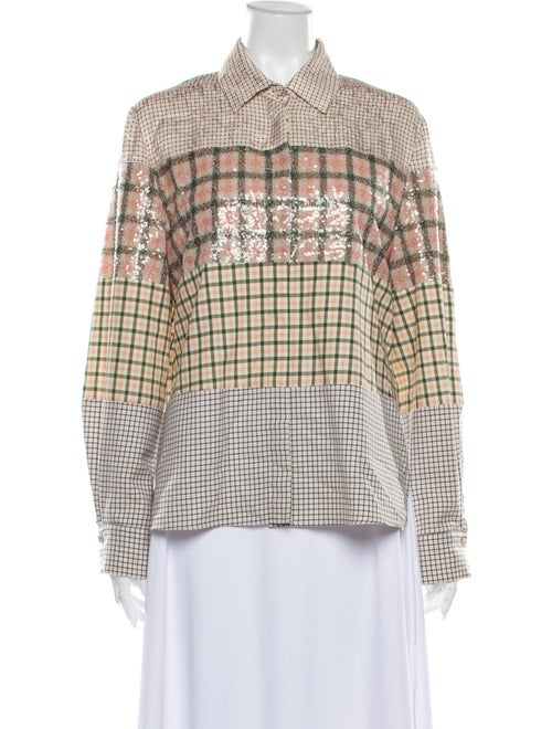 Fendi Plaid Print Long Sleeve Button-Up Top