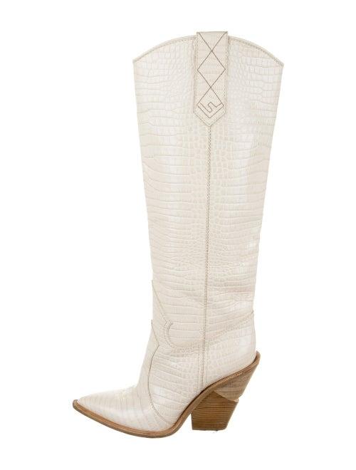 Fendi 2018 2018 Cutwalk Cowboy Embossed Boots Whi… - image 1