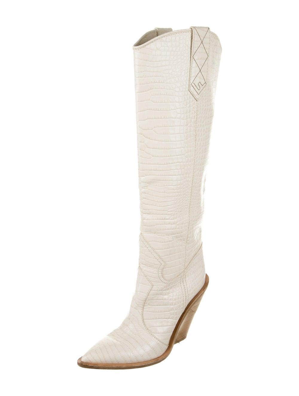 Fendi 2018 2018 Cutwalk Cowboy Embossed Boots Whi… - image 2