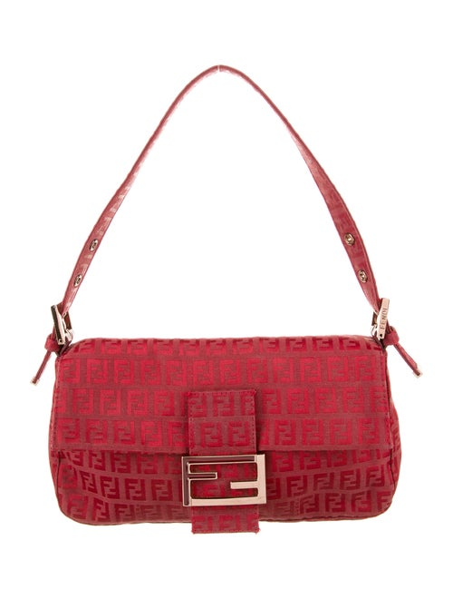 Fendi Zucchino Baguette Bag Red
