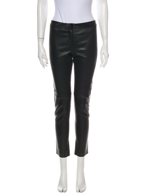 Fendi Leather Straight Leg Pants Black - image 1