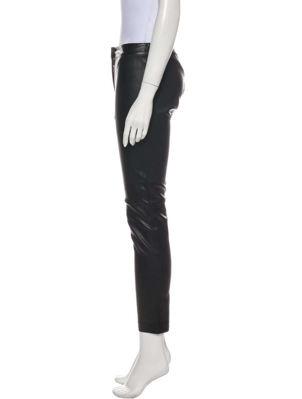 Fendi Leather Straight Leg Pants Black - image 2