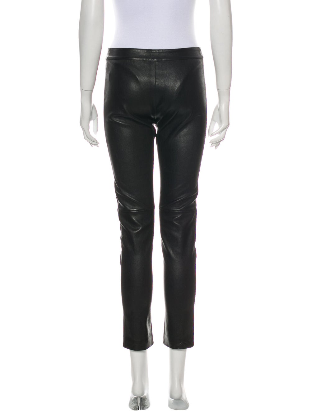 Fendi Leather Straight Leg Pants Black - image 3