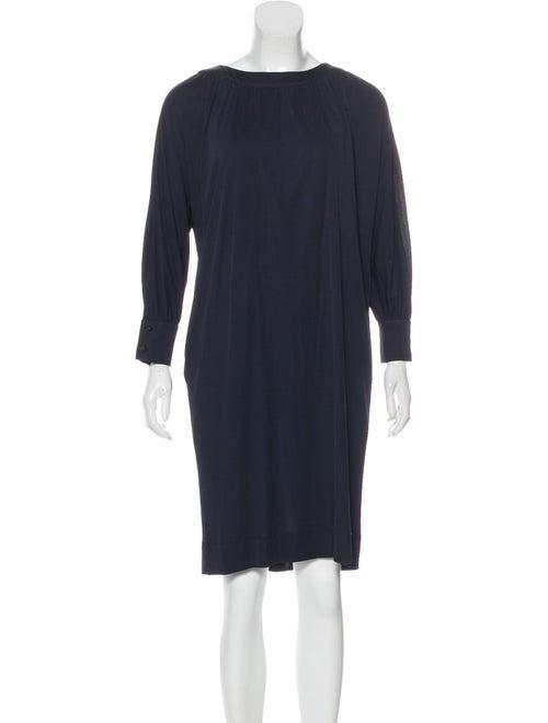 Fendi Dolman Sleeve Knee-Length Dress Navy