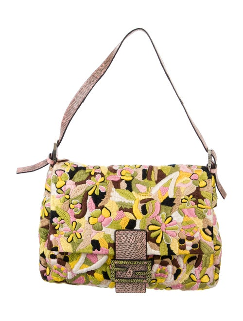 Fendi Lizard-Trimmed Embroidered Mama Forever Bag