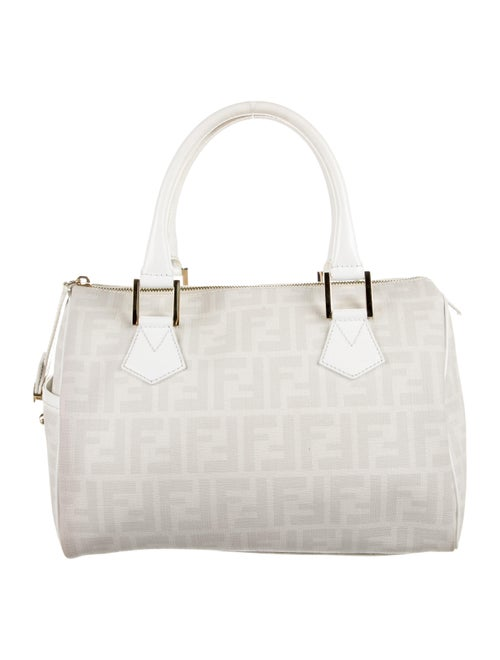 Fendi Medium Zucca Boston Bag White