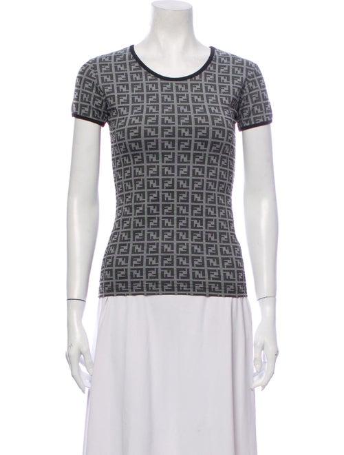 Fendi Patterned Scoop Neck T-Shirt Grey