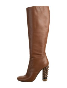 Fendi Leather Studded Accents Boots