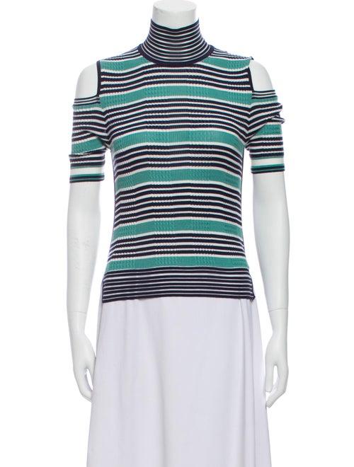 Fendi Silk Striped T-Shirt Green