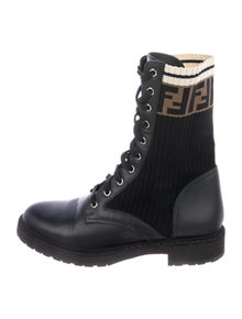 Fendi Zucca FF Logo Printed Combat Boots