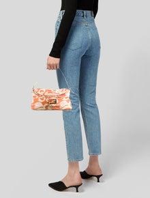 Fendi Leather-Trimmed Printed Flap Baguette