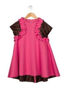 Fendi 2021 Girls' Printed Short-Sleeve Dress w/ Tags