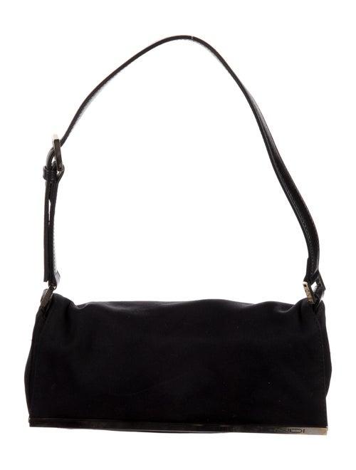 Fendi Leather-Trimmed Nylon Shoulder Bag Black - image 1
