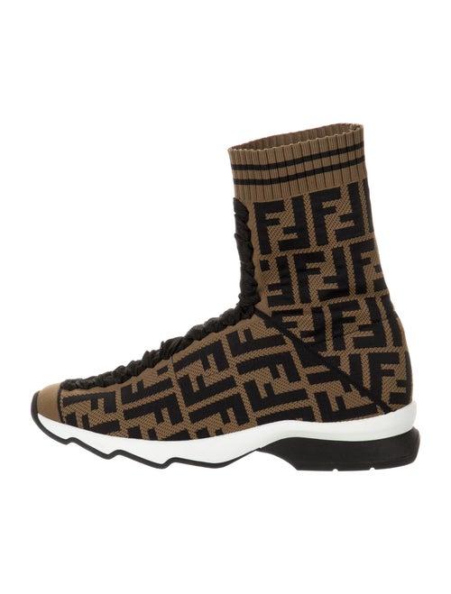 Fendi Zucca FF Logo Printed Sock Sneakers Brown