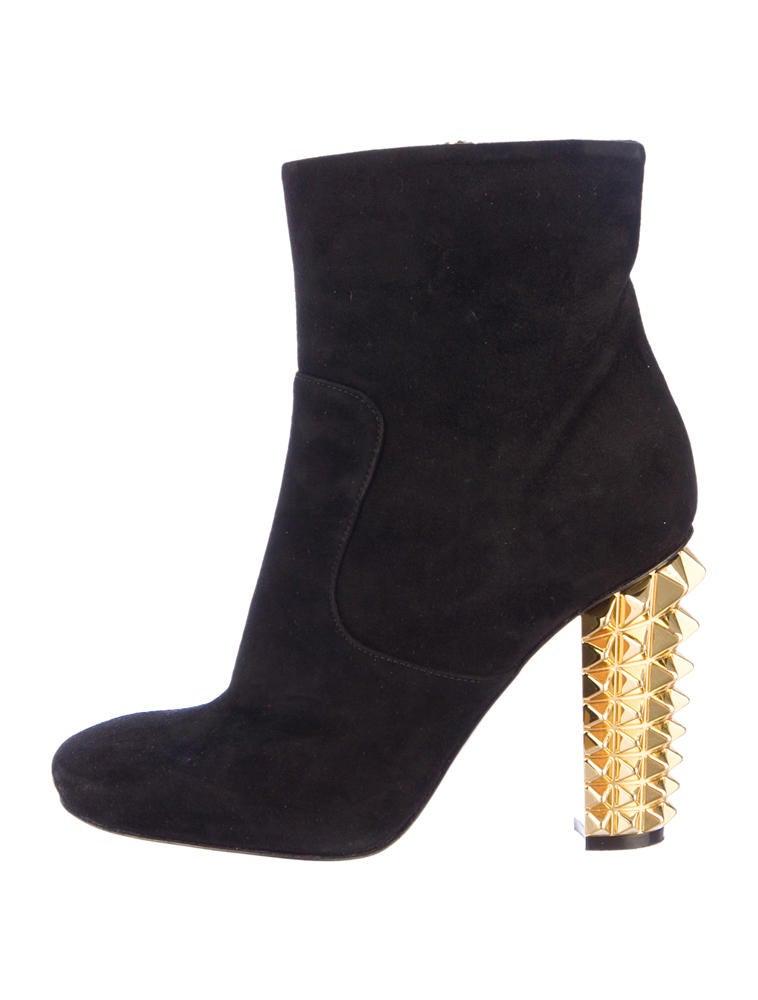 Fendi Studded Heel Booties - Shoes - FEN22684 | The RealReal