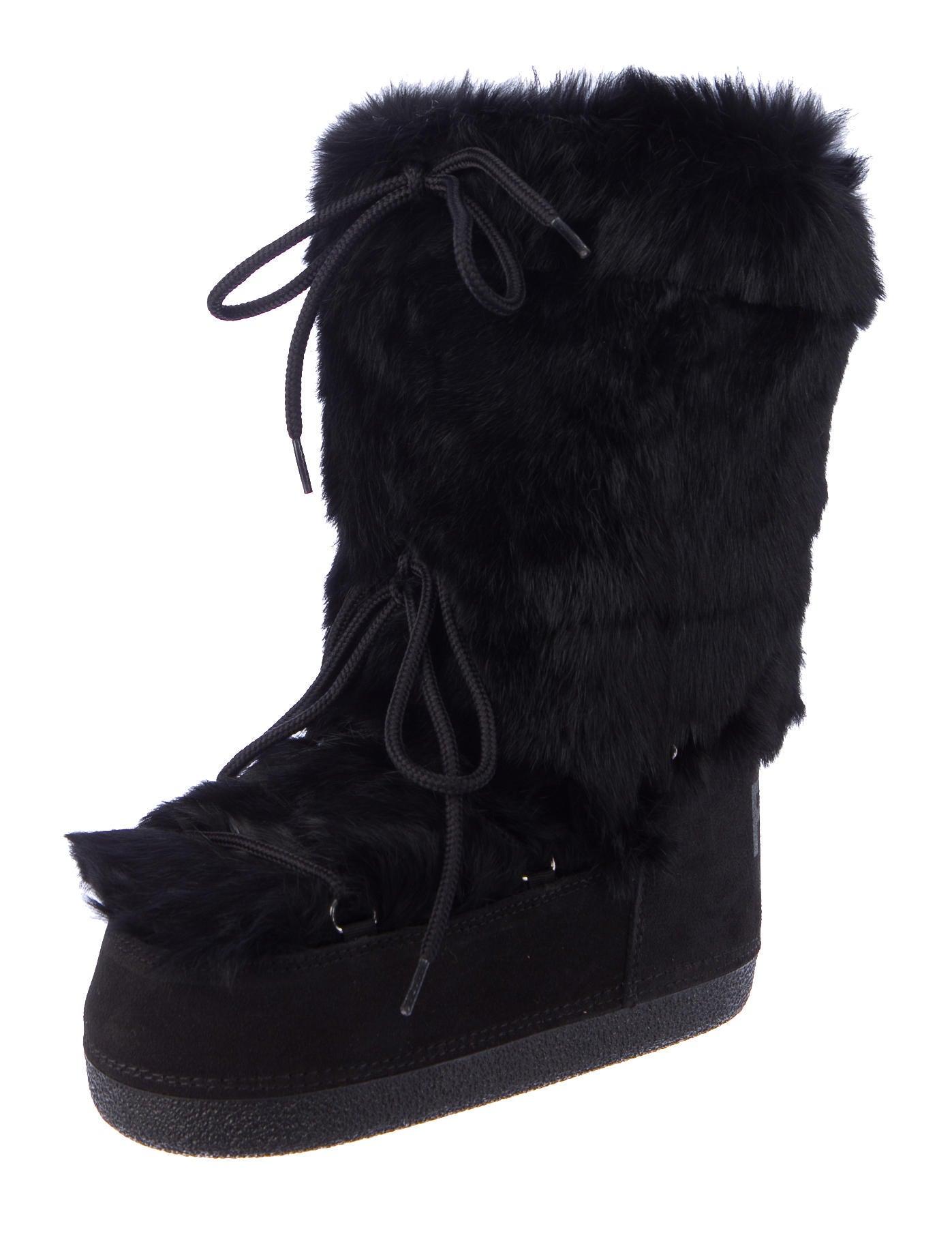 Fendi Fur Trim Moon Boots w/ Tags