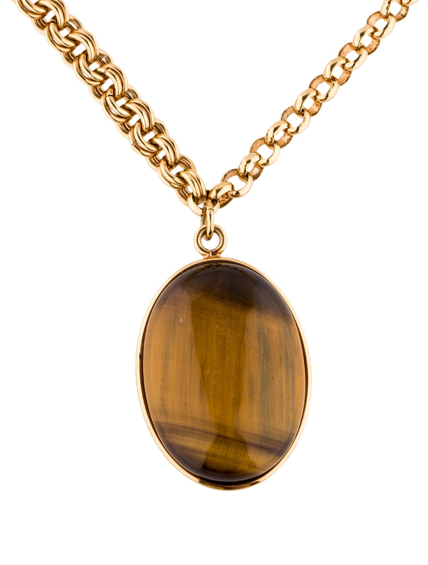 Fendi Tiger S Eye Pendant Necklace Necklaces Fen30463