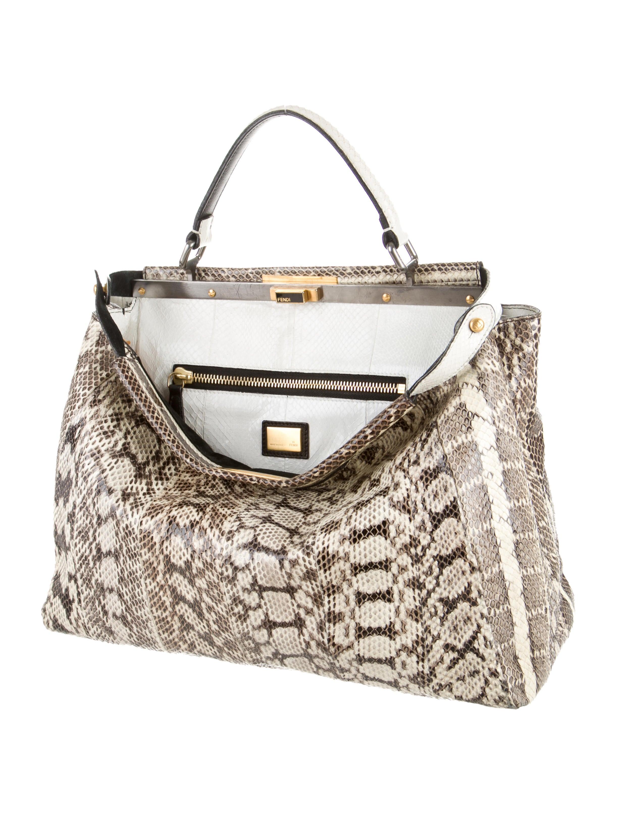 64674096e2 Fendi Large Elaphe Snakeskin Peekaboo Bag - Handbags - FEN39763 ...