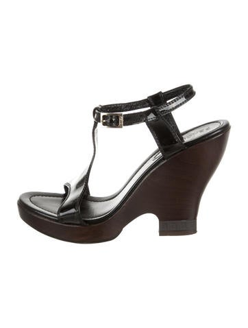 Fendi Patent Leather Ankle Strap Wedges None