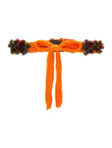 Fendi Fur-Accented Crocheted Waist Belt None